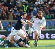 NATIONER 2014 för RBS 6 - ITALIEN vs SKOTTLAND; GREIG LAIDLAW Arkivfoton
