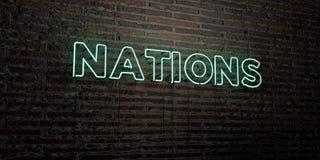 NATIONER - realistiskt neontecken på bakgrund för tegelstenvägg - 3D framförd fri materielbild för royalty stock illustrationer