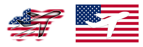 Nationflagga - flygplan - USA Arkivbild