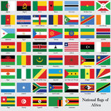 Nationflaggorna av Afrika Royaltyfria Bilder