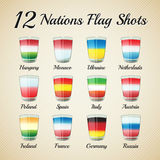 Nations flag shots set. Set of twelve nations flag Shots - for celebration occasions like world cup football Royalty Free Stock Images