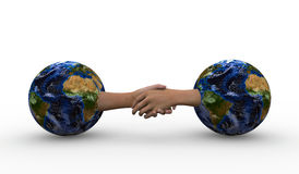 Nations helping each other. Conceptual image of two hands shaking, coming out of 2 worlds, as a metaphor for nations and countries collaborating and helping each Stock Images