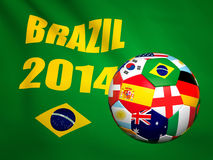 Nations soccer ball. Multi nations soccer ball and brazil background royalty free illustration