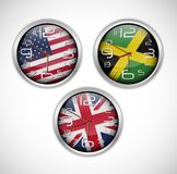 Nations wall clocks of flag Royalty Free Stock Photos