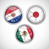 Nations wall clocks of flag Royalty Free Stock Photography