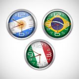 Nations wall clocks of flag Stock Photo