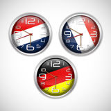 Nations wall clocks of flag Stock Images