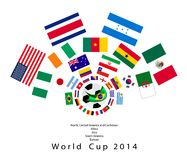The 32 Nations in 2014 World Cup. Brazil 2014, An Illustration of The Flags of 32 Teams Around A Soccer Ball of of Football World Cup in Brazil Stock Photography