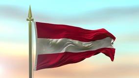 Nationsflagga av Österrike som vinkar i vinden mot ultrarapiden för solnedgånghimmelbakgrund