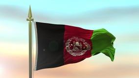Nationsflagga av Afghanistan som vinkar i vinden mot öglan för ultrarapid för solnedgånghimmelbakgrund den sömlösa