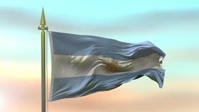 Nationsflagga av Argentina som vinkar i vinden mot ultrarapiden för solnedgånghimmelbakgrund