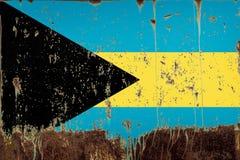 Nationsflagga av Bahamas på metalltextur arkivfoton