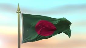 Nationsflagga av Bangladesh som vinkar i vinden mot ultrarapiden för solnedgånghimmelbakgrund