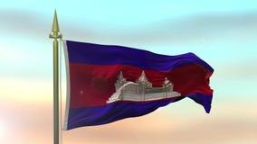 Nationsflagga av Cambodja som vinkar i vinden mot öglan för ultrarapid för solnedgånghimmelbakgrund den sömlösa