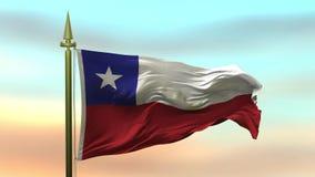 Nationsflagga av Chile som vinkar i vinden mot öglan för ultrarapid för solnedgånghimmelbakgrund den sömlösa