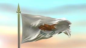 Nationsflagga av Cypern som vinkar i vinden mot öglan för ultrarapid för solnedgånghimmelbakgrund den sömlösa