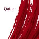 Nationsflagga av den qatariska abstrakta grungebakgrunden av färger av flaggan med texten av den qatariska flaggan för nationellt royaltyfri illustrationer