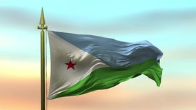 Nationsflagga av Djibuti som vinkar i vinden mot öglan för ultrarapid för solnedgånghimmelbakgrund den sömlösa