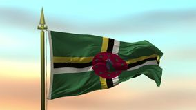 Nationsflagga av Dominica som vinkar i vinden mot öglan för ultrarapid för solnedgånghimmelbakgrund den sömlösa