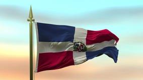 Nationsflagga av Dominikanska republiken som vinkar i vinden mot öglan för ultrarapid för solnedgånghimmelbakgrund den sömlösa