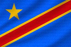 nationsflagga av DR Congo royaltyfri illustrationer