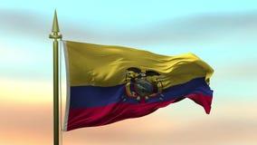 Nationsflagga av Ecuador som vinkar i vinden mot öglan för ultrarapid för solnedgånghimmelbakgrund den sömlösa