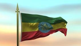 Nationsflagga av Etiopien som vinkar i vinden mot öglan för ultrarapid för solnedgånghimmelbakgrund den sömlösa