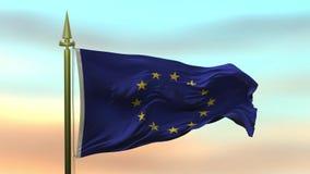 Nationsflagga av europeisk union som vinkar i vinden mot öglan för ultrarapid för solnedgånghimmelbakgrund den sömlösa