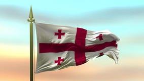 Nationsflagga av Georgia som vinkar i vinden mot öglan för ultrarapid för solnedgånghimmelbakgrund den sömlösa
