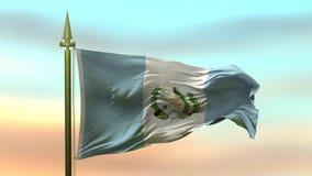 Nationsflagga av Guatemala som vinkar i vinden mot öglan för ultrarapid för solnedgånghimmelbakgrund den sömlösa