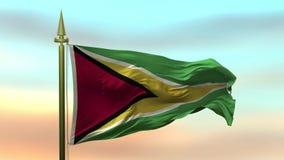 Nationsflagga av Guyana som vinkar i vinden mot öglan för ultrarapid för solnedgånghimmelbakgrund den sömlösa