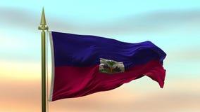 Nationsflagga av Haiti som vinkar i vinden mot öglan för ultrarapid för solnedgånghimmelbakgrund den sömlösa