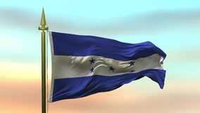 Nationsflagga av Honduras som vinkar i vinden mot öglan för ultrarapid för solnedgånghimmelbakgrund den sömlösa
