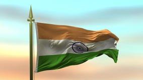 Nationsflagga av Indien som vinkar i vinden mot öglan för ultrarapid för solnedgånghimmelbakgrund den sömlösa