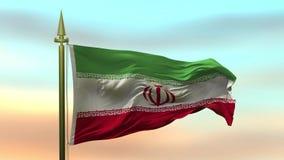 Nationsflagga av Iran som vinkar i vinden mot öglan för ultrarapid för solnedgånghimmelbakgrund den sömlösa