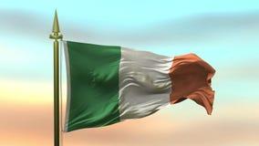 Nationsflagga av Irland som vinkar i vinden mot öglan för ultrarapid för solnedgånghimmelbakgrund den sömlösa