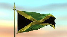 Nationsflagga av Jamaica som vinkar i vinden mot öglan för ultrarapid för solnedgånghimmelbakgrund den sömlösa
