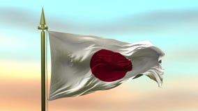 Nationsflagga av Japan som vinkar i vinden som är långsam mot öglan för ultrarapid för solnedgånghimmelbakgrund den sömlösa