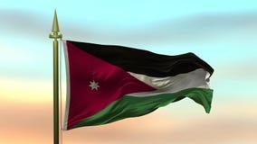 Nationsflagga av Jordanien som vinkar i vinden mot öglan för ultrarapid för solnedgånghimmelbakgrund den sömlösa