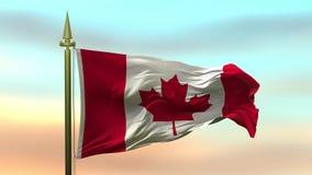 Nationsflagga av Kanada som vinkar i vinden mot öglan för ultrarapid för solnedgånghimmelbakgrund den sömlösa
