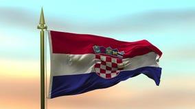 Nationsflagga av Kroatien som vinkar i vinden mot öglan för ultrarapid för solnedgånghimmelbakgrund den sömlösa