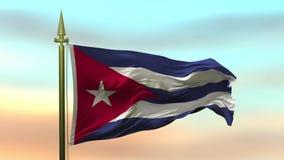 Nationsflagga av Kuban som vinkar i vinden mot öglan för ultrarapid för solnedgånghimmelbakgrund den sömlösa