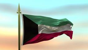 Nationsflagga av Kuwait som vinkar i vinden mot öglan för ultrarapid för solnedgånghimmelbakgrund den sömlösa