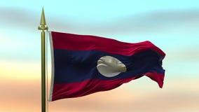 Nationsflagga av Laos som vinkar i vinden mot öglan för ultrarapid för solnedgånghimmelbakgrund den sömlösa