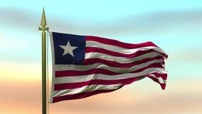 Nationsflagga av Liberia som vinkar i vinden mot öglan för ultrarapid för solnedgånghimmelbakgrund den sömlösa
