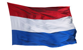 Nationsflagga av Nederländerna som isoleras på vit Arkivfoto
