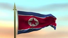 Nationsflagga av Nordkorea som vinkar i vinden mot öglan för ultrarapid för solnedgånghimmelbakgrund den sömlösa