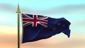 Nationsflagga av Nya Zeeland som vinkar i vinden mot öglan för ultrarapid för solnedgånghimmelbakgrund den sömlösa stock video