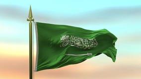 Nationsflagga av Saudiarabien som vinkar i vinden mot öglan för ultrarapid för solnedgånghimmelbakgrund den sömlösa