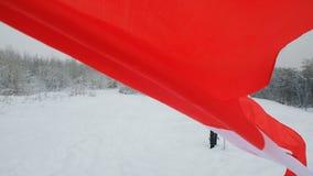 Nationsflagga av Schweiz som vinkar i vinden lager videofilmer